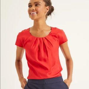 Boden • Poinsettia Red Ravello Short Sleeve Blouse